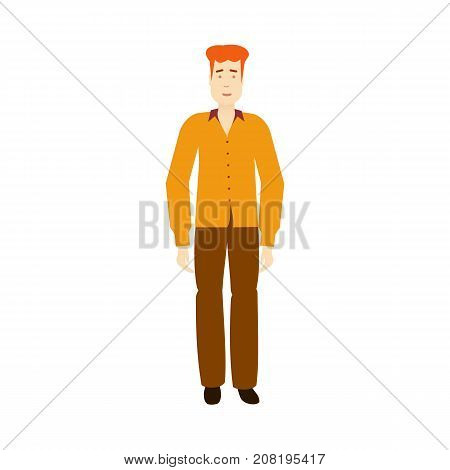 vector adult red-haired man wearing yellow shirt, brown trousers isolated. Full lenght portrait. Flat illustration on a white background, Family character cartoon concept.