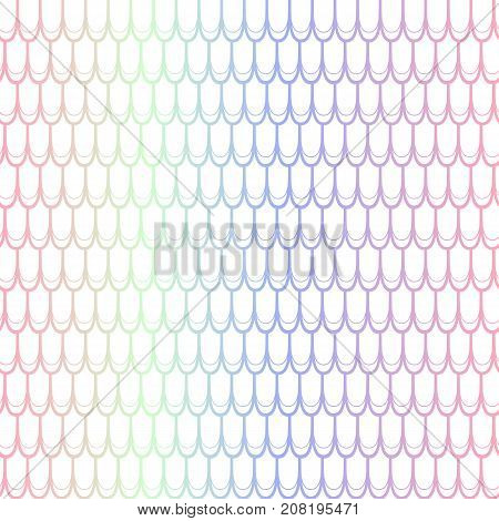 Colorful fish scale seamless pattern. Colorful gradient net on white. Fish skin vector pattern. Magic mermaid pattern. Fish seamless pattern tile. Mermaid tail background. Shiny fishscale ornamtent