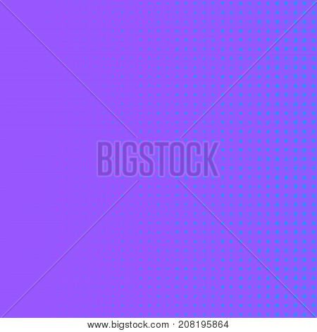 Blue and violet halftone vector pattern. Square dotted halftone background. Pop art dotted texture. Neon colors gradient with vintage halftone effect. Modern abstract pattern for wallpaper or cover