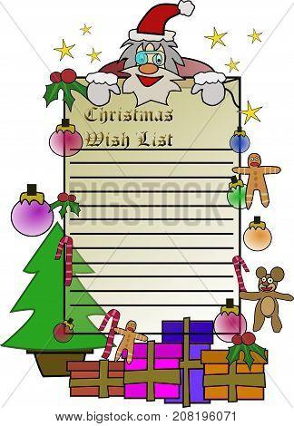 Christmas wish list image with Santa Claus