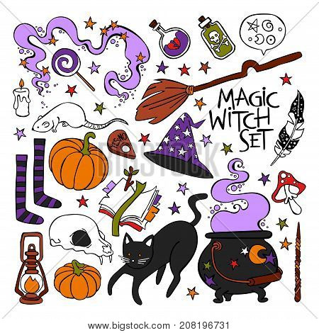 Magic witch set. Black cat, witch hat, halloween pumpkin, potion, skull, book, stars. Isolated vector objects on white background.