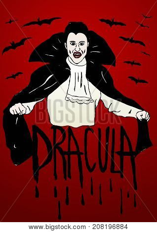Count Dracula image with mantle and bats