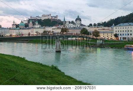 Cityscape of the Salzach river and the old city in center of Salzburg Austria