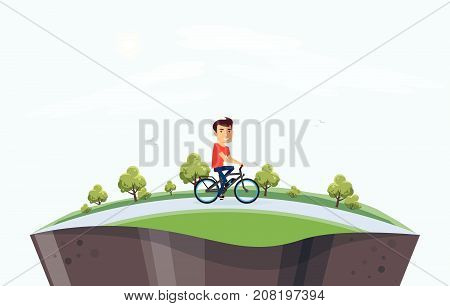 Man On Electric Bicycle Riding In Nature Arranged On Globe