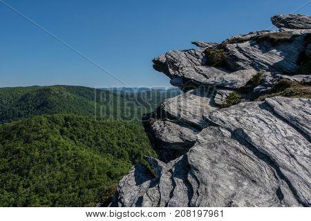 Rock Outcropping Above Blue Ridge Mountains