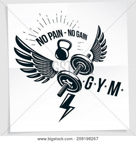 Fitness club advertising vector poster composed using disc weight dumb-bell and kettle bell sport equipment. No pain no gain writing.