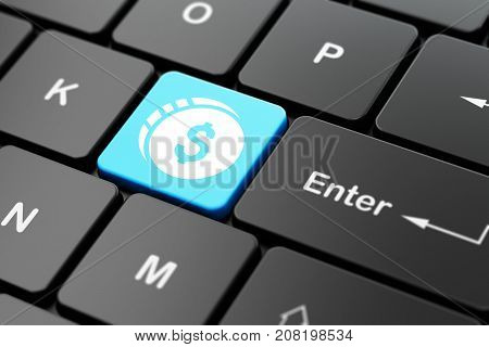 Money concept: computer keyboard with Dollar Coin icon on enter button background, 3D rendering