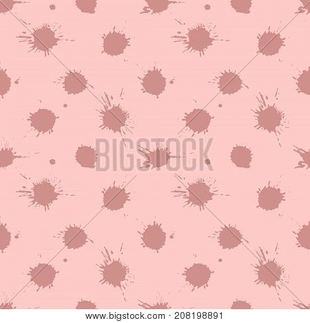 Seamless Vector Pattern, Tile With Inc Splash, Blots, Smudge And Brush Strokes. Grunge Endless Templ