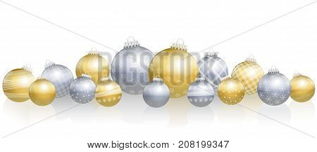 Christmas balls - loosely arranged gold and silver still life - isolated vector illustration over white background.