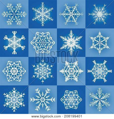 Snowflakes - filigree blue christmas pattern background with sixteen different tiles - seamless extendable vector illustration.