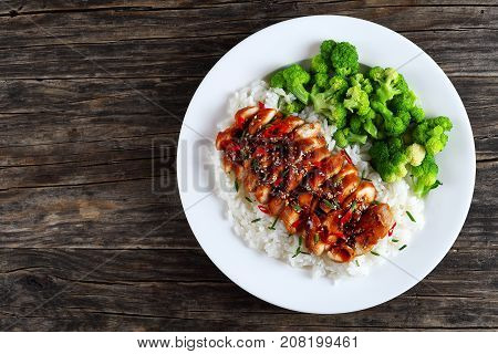 White Rice Topped With Teriyaki Chicken