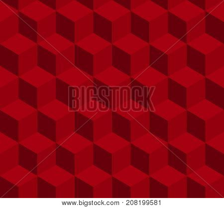 Red cube seamless vector pattern. Pattern included in swatch.