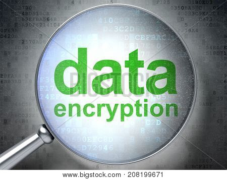 Privacy concept: magnifying optical glass with words Data Encryption on digital background, 3D rendering