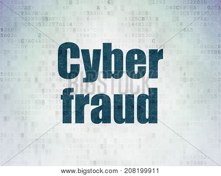Privacy concept: Painted blue word Cyber Fraud on Digital Data Paper background