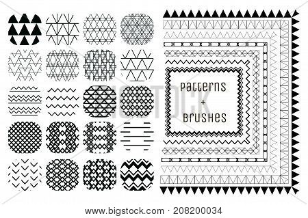 Collection of 20 Black Abstract Geometric Seamless Patterns and 7 Flexible, Color, Size and Shape adjustable pattern brushes with outer and inner tiles corners. Vector Illustration. Monochrome Fully Editable Repeating Pattern Backgrounds