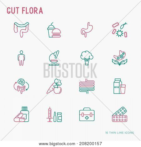 Gut flora thin line icons set: gut, bacteria, obesity, stomach, infection, depression, medicine. Vector illustration for medical survey or report.