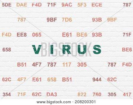 Privacy concept: Painted green text Virus on White Brick wall background with Hexadecimal Code