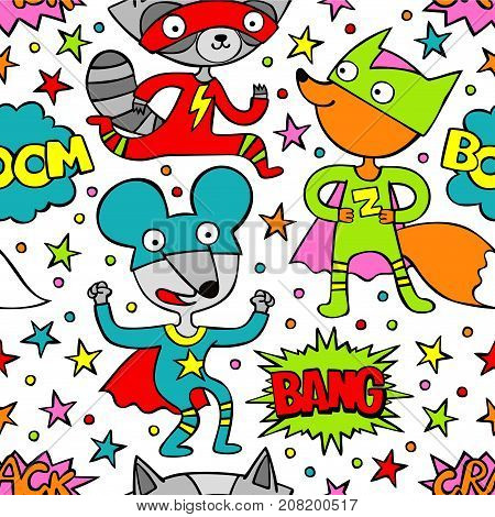 Superheroes. Raccoon, mouse and fox. Cartoon. Seamless vector pattern (background).