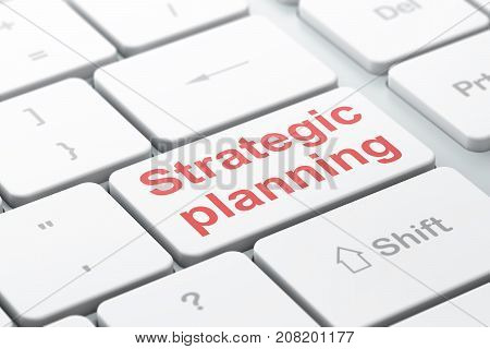 Business concept: computer keyboard with word Strategic Planning, selected focus on enter button background, 3D rendering