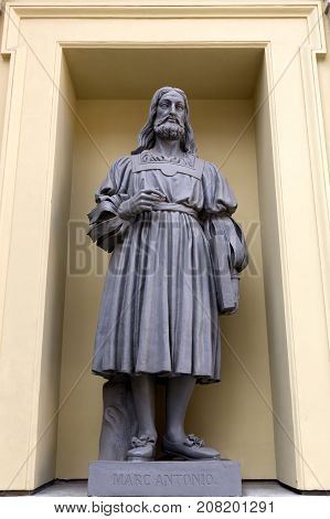 SAINT PETERSBURG, RUSSIA, MAY 04, 2017:Statue of Marc Antonio on the facade of the New Hermitage Building in St Petersburg Russia.