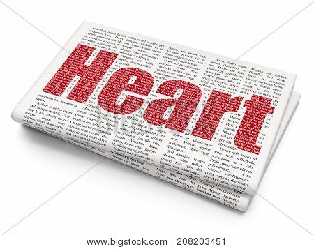 Medicine concept: Pixelated red text Heart on Newspaper background, 3D rendering