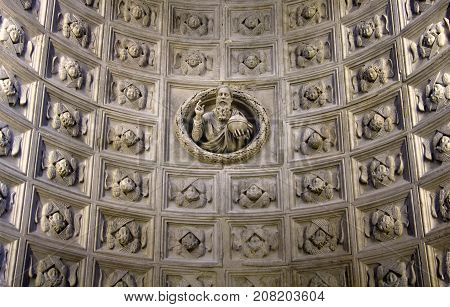 Coffered barrel vault with a statue of the god in the middle a new chapel in the cathedral of Saint Lawrence Trogir Croatia