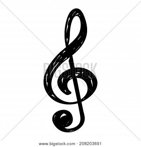 Isolated sketch of a musical note, Treble clef, Vector illustration