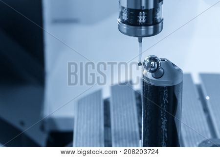 The Measurement probe attach on CNC's machine calibrate with 3D system gauge gauge.Quality control process on 5 axis CNC machine.