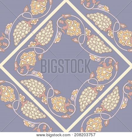 Seamless traditional chinese pattern with floral ornament in vintage pastel colors. Stock vector illustration.