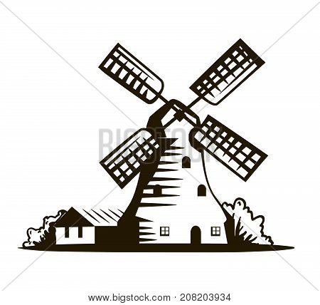 old windmill. vector illustration on white background