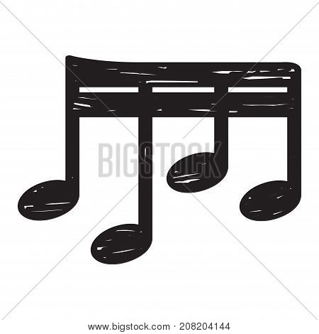 Isolated sketch of a musical note, Sixty-fourth note, Vector illustration