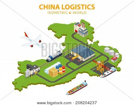 Flat 3d isometric vector illustration. Global shipping and logistics infographic. Distribution of goods all over the world with air cargo, railway, trucks and shipping.