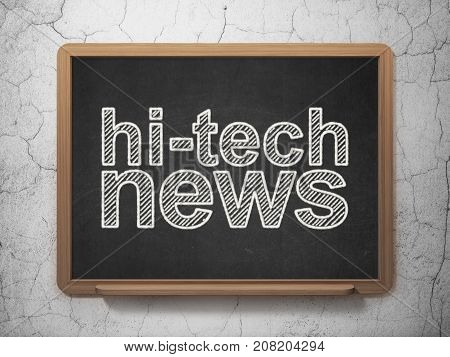 News concept: text Hi-tech News on Black chalkboard on grunge wall background, 3D rendering