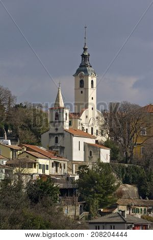 Church of Our Lady of Trsat and church of St George town Rijeka Croatia