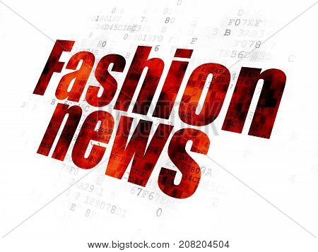 News concept: Pixelated red text Fashion News on Digital background