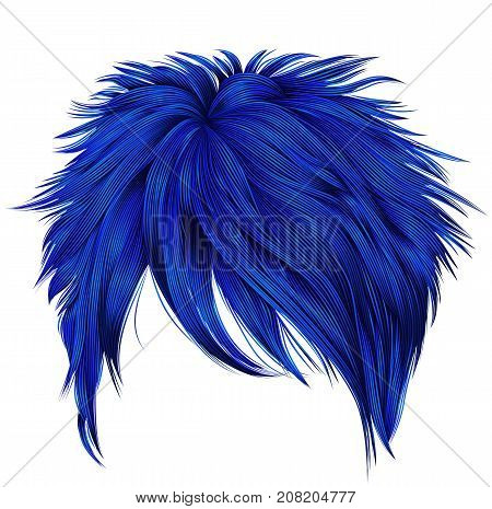 trendy woman short hairs dark blue colors . fringe . fashion beauty style . realistic 3d .