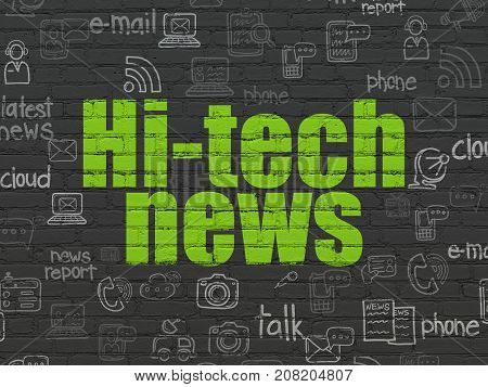 News concept: Painted green text Hi-tech News on Black Brick wall background with  Hand Drawn News Icons
