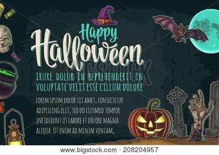 Horizontal poster with Halloween party calligraphy lettering, bat, lamp, hand zombie, moon, cross, cemetery, grave, pumpkin scary face. Vector color vintage engraving illustration on dark background