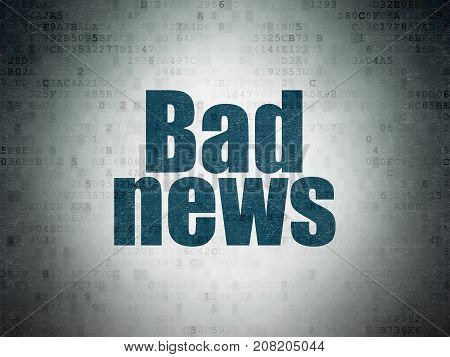 News concept: Painted blue word Bad News on Digital Data Paper background