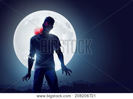 Dead Angry Zombie rising up and causing terror. Vector illustration.