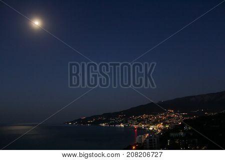 Night view of Yalta. Night surroundings and adjoining territories of hotel Yalta Intourist.