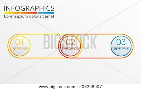 Infographics design template with 3 steps options or levels. Outline chart scheme diagram or menu template. Vector illustration.