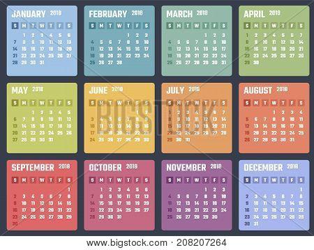 2018 year calendar, calendar design 2018 starts sunday