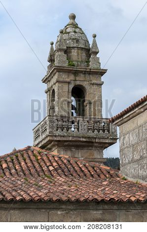 Bell tower of Domaio village. It is a small village which is part of the municipality of Moana in the Vigo estuary Galicia Spain.