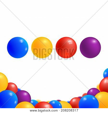 Colored balls isolated on white background. Childish plastic glossy balls in different colors. Game element for playground. Vector illustration.
