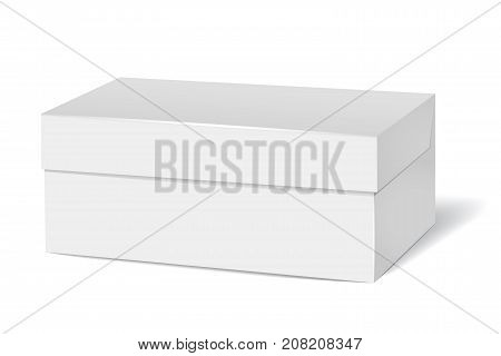 Vector tea box mock up. Blank white tea packaging isolated on transparent background. 3D rectangular cardboard box. Design element for product presentation. Eps 10.