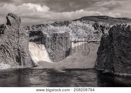 Hjalparfoss Double Waterfall In Infrared
