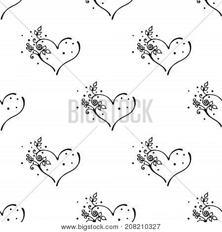 Vector Hand Drawn Seamless Pattern, Decorative Stylized Black And White Cute Hearts. Doodle Sketch S
