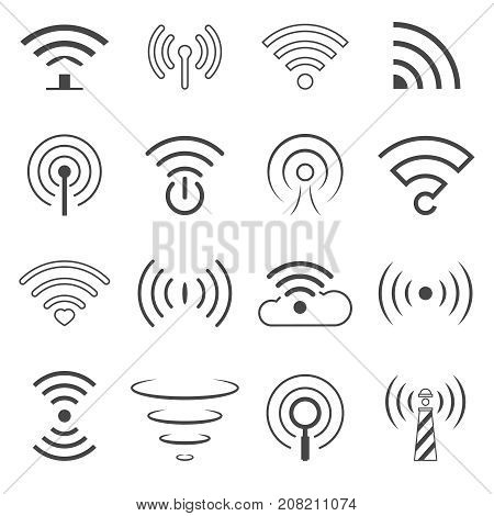 Set of WiFi Logo Vector Elements. Wireless technology concept signs in line style. WiFi Zone Sign