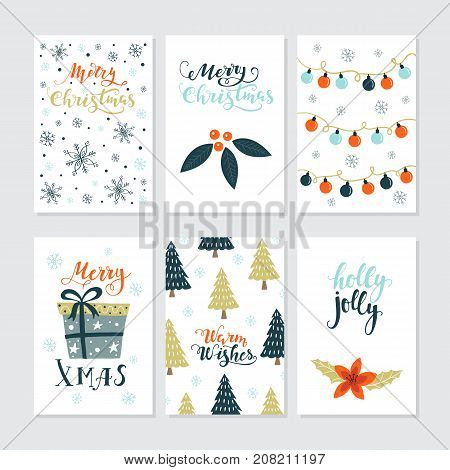 Vector Merry Christmas greeting cards and invitations  isolated on background. Set with cute xmas tree, gift and garland hand drawn designs. Vector elements for Xmas design.
